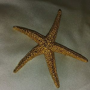 Vintage MDM Gold Tone Structured Starfish Brooch